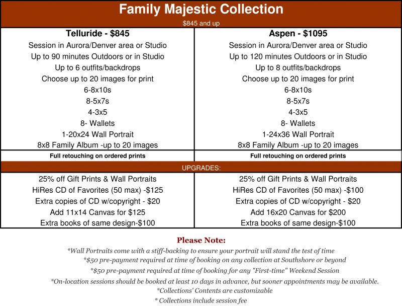 Majestic Family Portrait Collection starting at $845