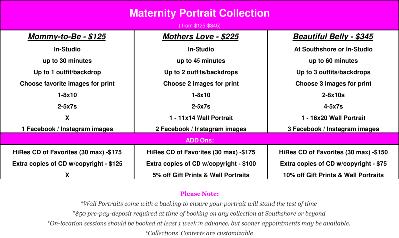 Maternity Portrait Collection ranges from $125 to $345