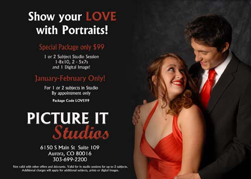 Romantic couple photo shoot starting at $99.