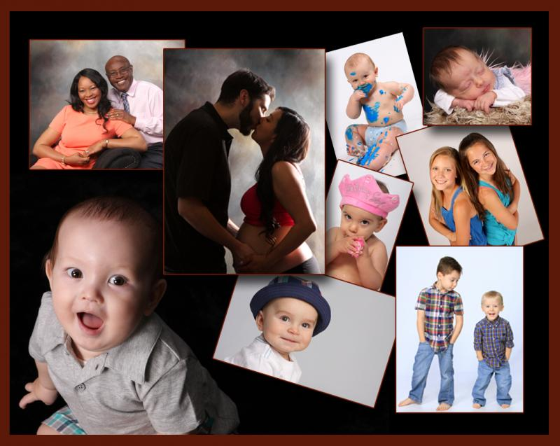 In-Studio Collage of Toddlers, Babies and Maternity photography